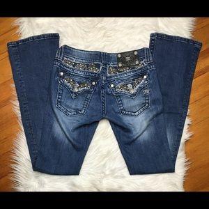 Miss Me Bootcut Jeans Bling Rhinestones Distressed